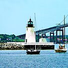 Rhode Island - Lighthouse Bridge And Boats Newport by Susan Savad