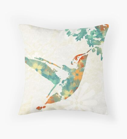 Teal Floral Hummingbird Throw Pillow
