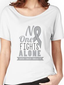 No One Fights Alone - Brain Cancer Awareness Women's Relaxed Fit T-Shirt