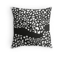 White crushed parts on black background Throw Pillow