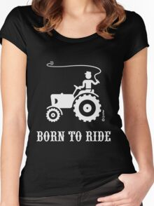 Born To Ride (Tractor / White) Women's Fitted Scoop T-Shirt