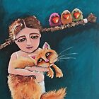Bird Girl and the Red Cat by StressieCat