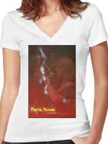 Paris, Texas Movie Poster Women's Fitted V-Neck T-Shirt