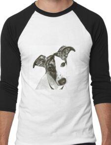 Black and White Dog Men's Baseball ¾ T-Shirt