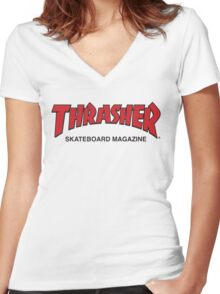 Thrasher Magazine Red Logo Design Women's Fitted V-Neck T-Shirt