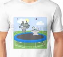 Two Cats Jumping On A Trampoline Unisex T-Shirt