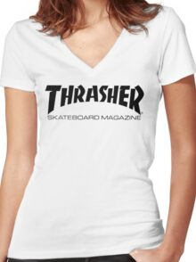 "Thrasher ""Skateboard Magazine"" Logo Design Women's Fitted V-Neck T-Shirt"