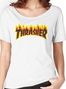 "Thrasher ""Flame"" Logo Design Women's Relaxed Fit T-Shirt"