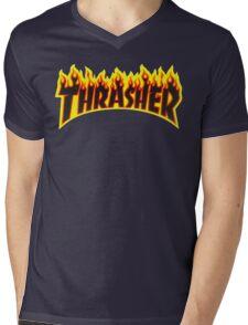 "Thrasher ""Flame"" Logo Design Mens V-Neck T-Shirt"