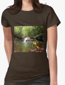 Cat Goes Fishing Womens Fitted T-Shirt