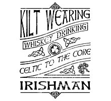 Kilt Wearing Irishman - black Photographic Print