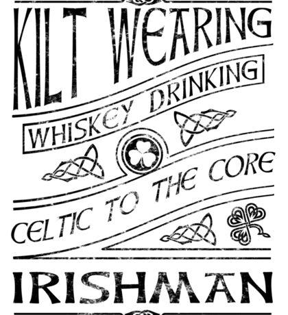 Kilt Wearing Irishman - black Sticker