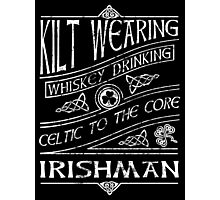 Kilt Wearing Irishman - white Photographic Print