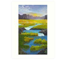 Marsh River Original Acrylic painting Art Print