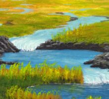 Marsh River Original Acrylic painting Sticker