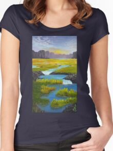 Marsh River Original Acrylic painting Women's Fitted Scoop T-Shirt