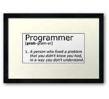 Programmer definition black Framed Print