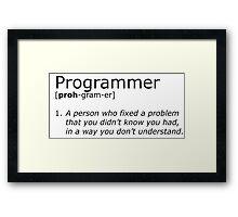 Programmer definition black Framed Print