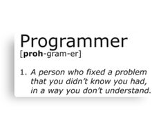 Programmer definition black Canvas Print