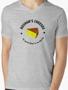 Roshans Cheeses (Black text) Mens V-Neck T-Shirt