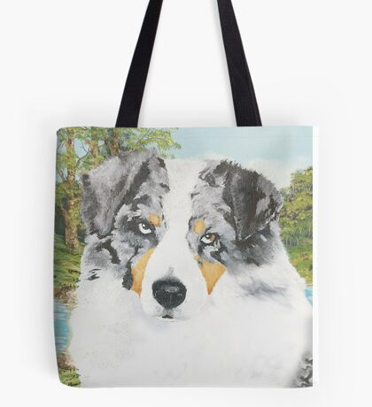 """Rowdy"" Australian Shepherd Dog Portrait Tote Bag"