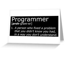 Programmer definition white Greeting Card
