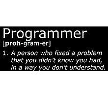 Programmer definition white Photographic Print