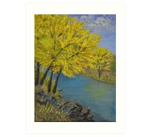 Acrylic River Scene with Fall color leaves Art Print