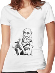 Gollum pencil sketch Women's Fitted V-Neck T-Shirt