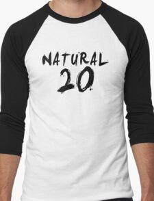 Natural 20 (Black) Men's Baseball ¾ T-Shirt