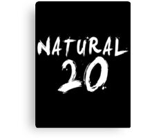 Natural 20 (White) Canvas Print