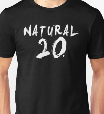 Natural 20 (White) Unisex T-Shirt