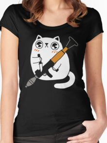 Cuddly Combat Cat Women's Fitted Scoop T-Shirt