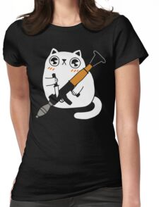 Cuddly Combat Cat Womens Fitted T-Shirt