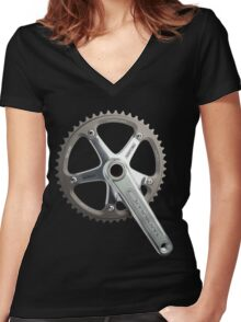 Silver Omni Crank Women's Fitted V-Neck T-Shirt