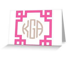 Customizable Chinoiserie Chic Greek Key Monogram  Greeting Card