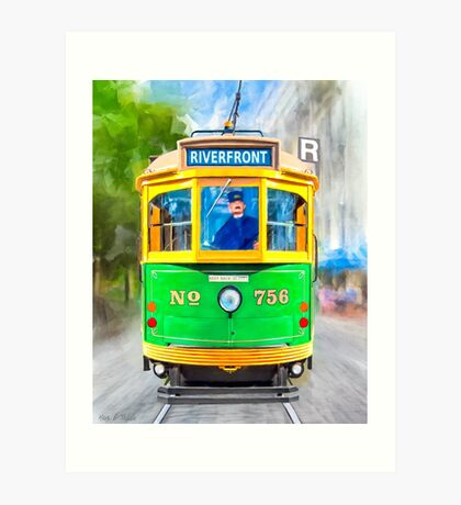 Classic Streamline Moderne Streetcar - Savannah Georgia Art Print
