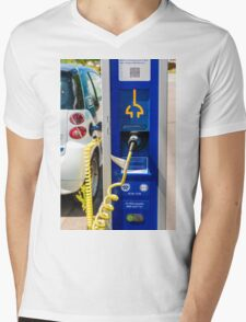 A car-sharing electric Smart is being recharged Mens V-Neck T-Shirt