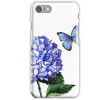 Blue hydrangea and butterfly iPhone Case/Skin
