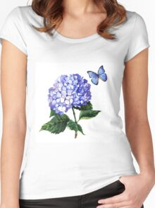 Blue hydrangea and butterfly Women's Fitted Scoop T-Shirt