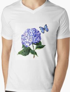 Blue hydrangea and butterfly Mens V-Neck T-Shirt