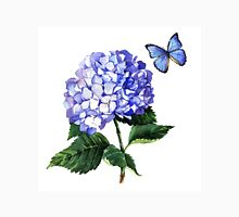 Blue hydrangea and butterfly Unisex T-Shirt