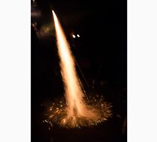 Fireworks rocket being launched out of a champagne bottle on its way into the sky Unisex T-Shirt