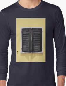 Partly opened green window shutters on bright yellow wall with great shadows Long Sleeve T-Shirt