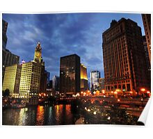 Chicago River Twilight 002 Poster