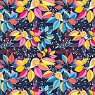 graphic seamless pattern of colored leaves and snails by Tanor