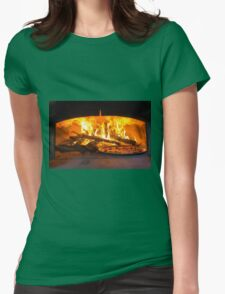 traditional Italian pizza wood oven with raw pizza and large fire in the background Womens Fitted T-Shirt
