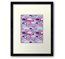 Seamless graphic pattern geometric clouds Framed Print