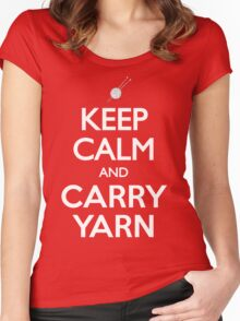 Keep Calm and Carry Yarn Knitting T Shirt Women's Fitted Scoop T-Shirt