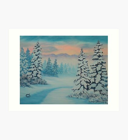 Early To Rise, winter scene Art Print